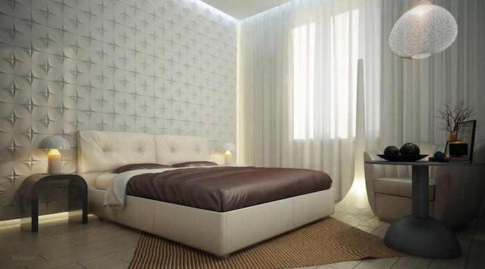 wanddeko schlafzimmerweißes zimmer mit doppelbett, braunes bett, vorhänge, dekorationen, tisch im zimmer