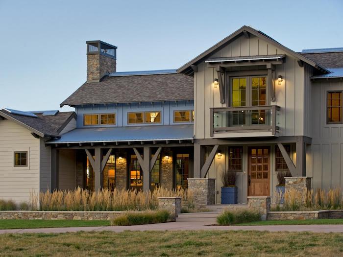 wandfarbe hellgrau, interieur und exterieur ideen, hausdesign, landhaus schön gestalten