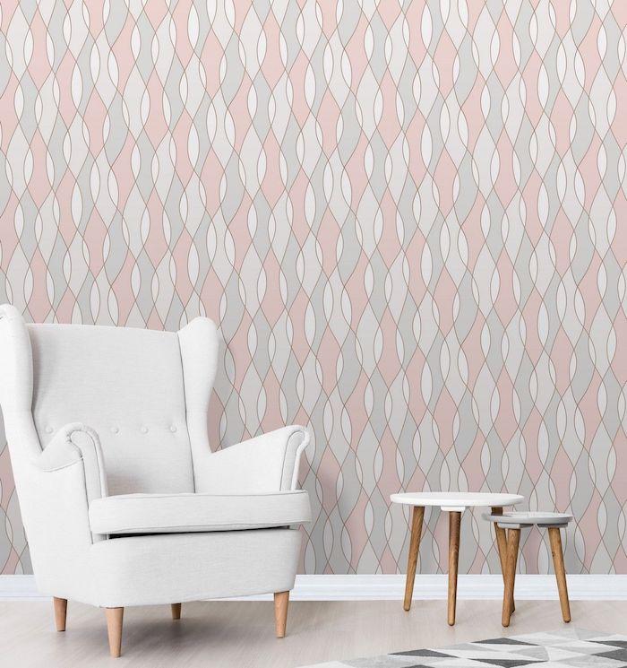 Wandfarbe Hellgrau, Tapeten Muster Idee, Schöne Wandgestaltung, Weißer  Sessel Und Zwei Hocker Welche Farbe Passt ...