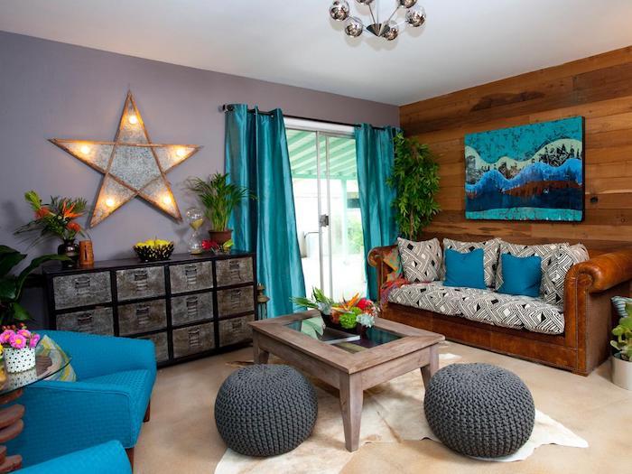 welche farbe passt zu braun im interieur, blaue farben, graue wand, stern als deko, lichtkette