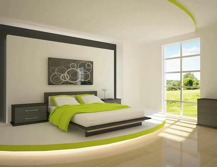 welche farbe passt zu braun, hier sehen sie grün und grau, sie passen gut zum braunen, schlafzimmer design, doppelbett, wandgestaltung idee