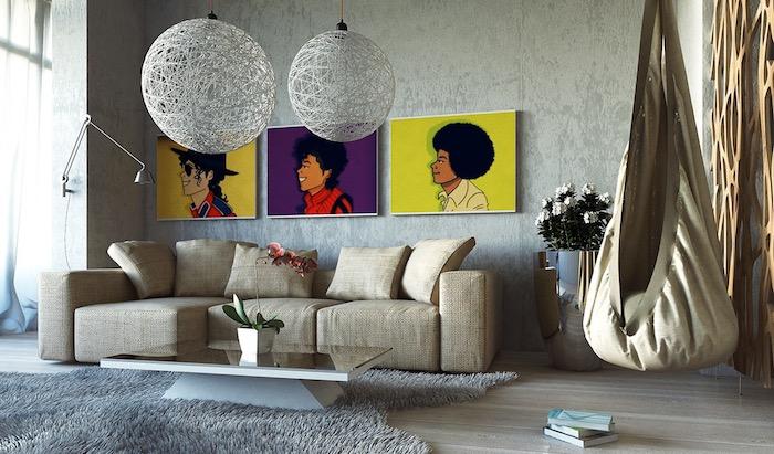 einrichtungsideen für das zuhause, wandfarbe grau mit bunten wandbildern verzieren, afrofrisuren, hängender stuhl, sofa beige, teppich