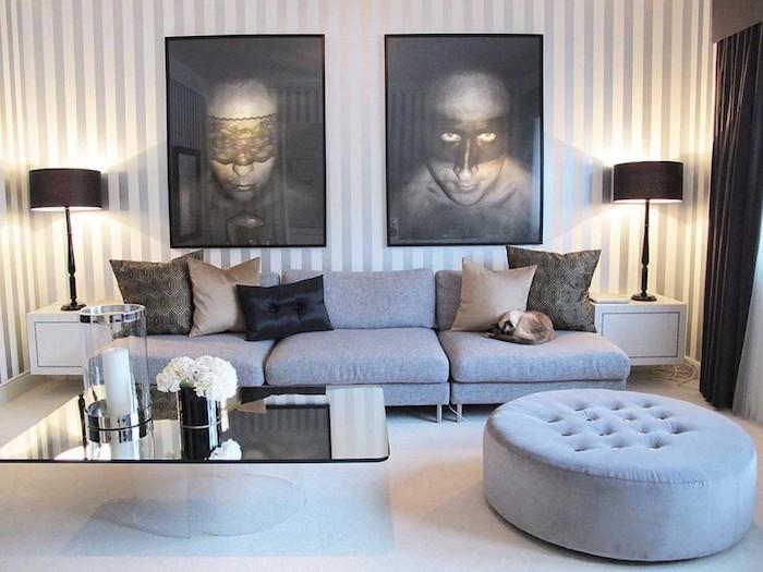 welche farbe passt zu braun, wandbilder in braun, grau, bodenkissen, sofa, cooles modernes zimmerdesign