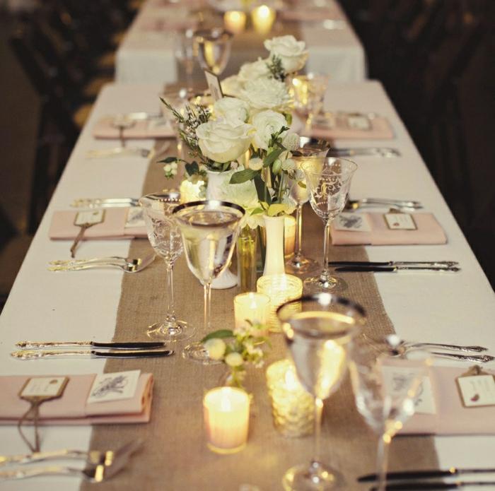 Servietten Kommunion in rosa Farbe, Sackleinen Tischläufer, weiße Rose