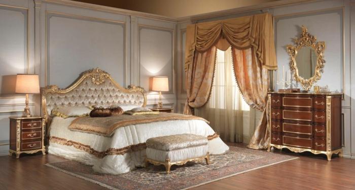 schlafzimmer bild über bett, spiegel über dem schrank, königliches design, luxuszimmer