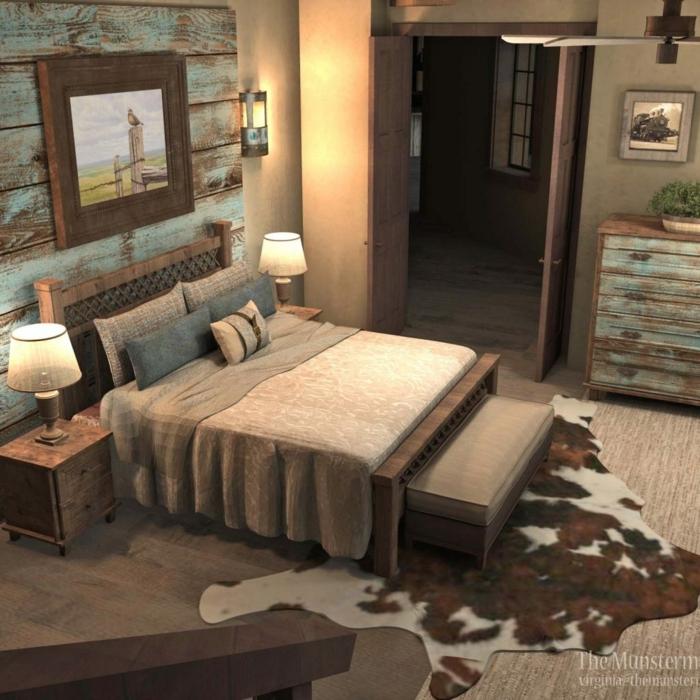 schlafzimmer bild über bett, landhausstil und design, teppich auf dem boden, leder von einem tier
