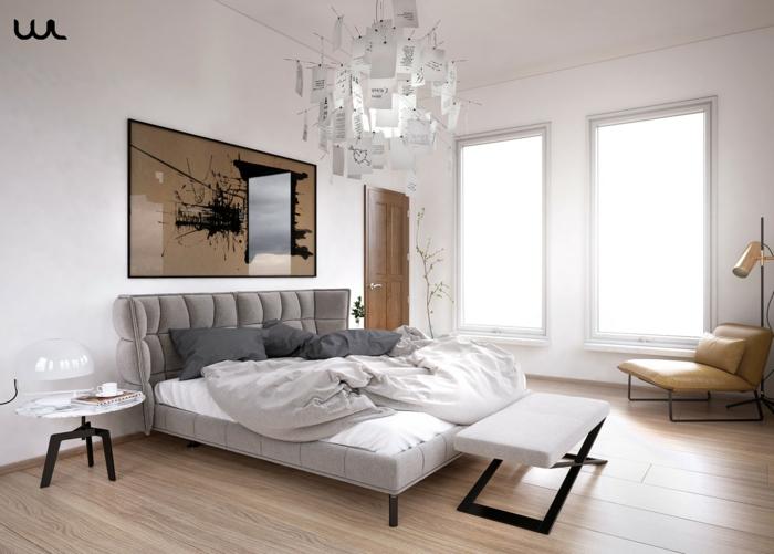 spiegel im schlafzimmer, wanddeko ideen zum nachmachen, schlichtes zimmerdesign mit eleganten farben und möbeln