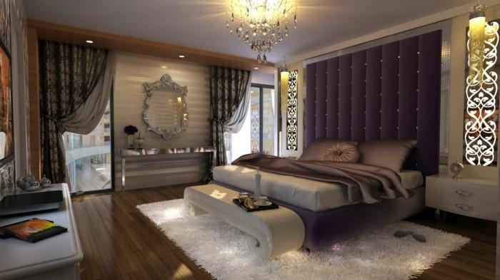 schlafzimmer bild über bett, teppich weiß, vorhänge dunkel zum ruhigen schlaf, lila wand hinter dem bett