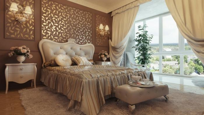 spiegel im schlafzimmer, zimmergestaltung in edler stil, wanddeko stilvoll, auserlesene schlafzimmer ideen großes fenster