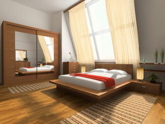 schrank mit spiegel, vorhänge, dachschräge, teppiche, schlafzimmer bild über bett,