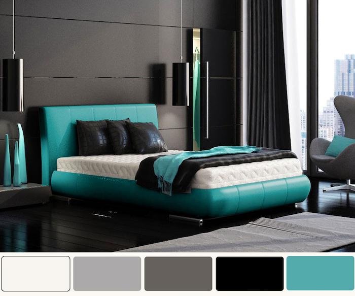 zimmer und wandfarbe grau mit türkis oder blau verzieren, ideen zur eleganten zimmergestaltung