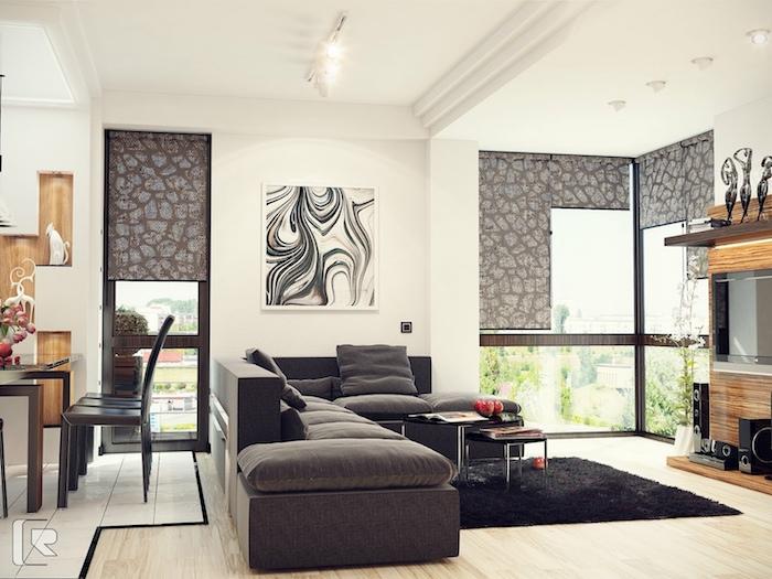 graue wandfarbe gestalten und dekorieren, sofa, balkon, terrasse, viel licht im zimmer