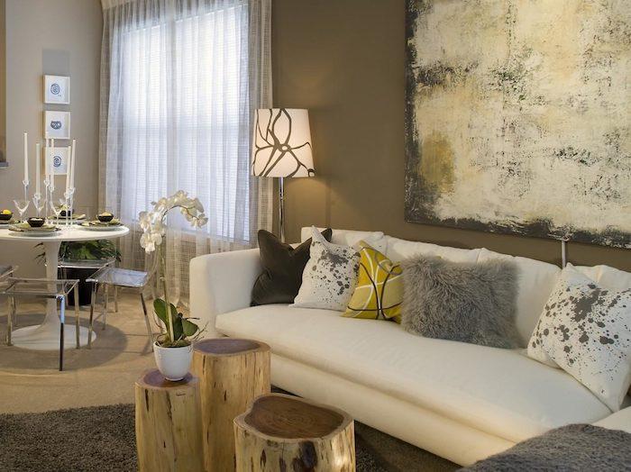 wohnzimmer grau weiß, beige, wanddeko, wandbilder ideen zum lampendesign tisch, küche, wohnküche