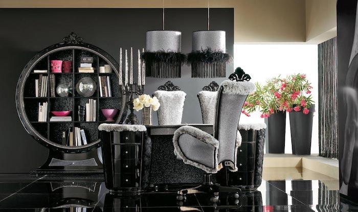 wohnzimmer grau weiß und scharz, dunkle zimmergestaltung idee, mutige interieur entscheidungen