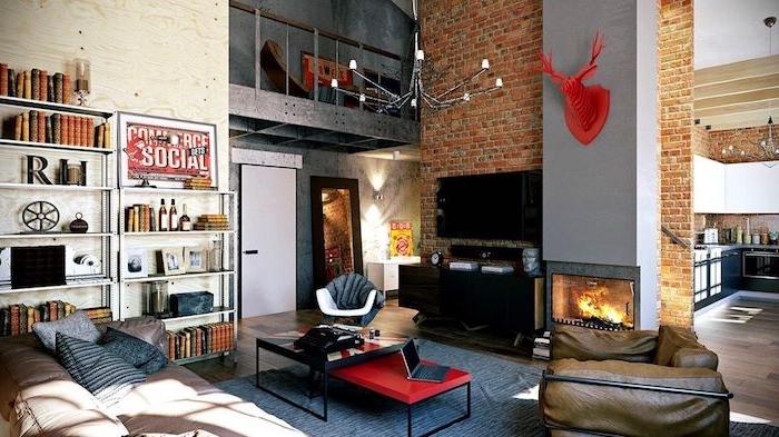 was passt zu grau, rote dekorationen krasse idee, buntes zimmerdesign, gestaltung mit farben bunt