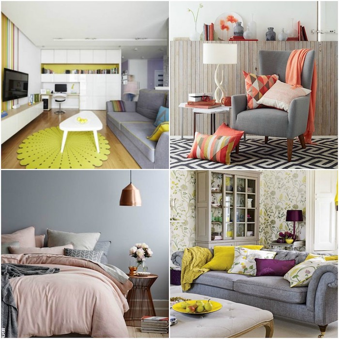 vier schöne ideen, welche farbe passt zu grau, grün, lila, orange oder rot, zimmer einrichten
