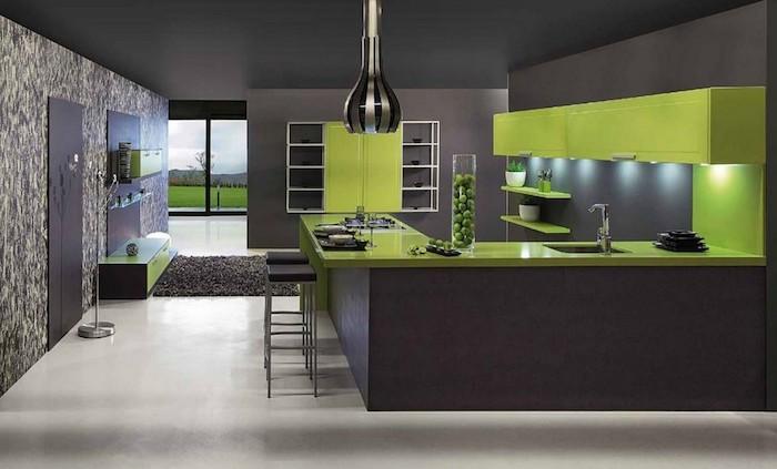 was passt zu grau, hier ist ein beispiel, wie gut sich grau und grün ergänzen idee küchengestaltung, küche einrichten
