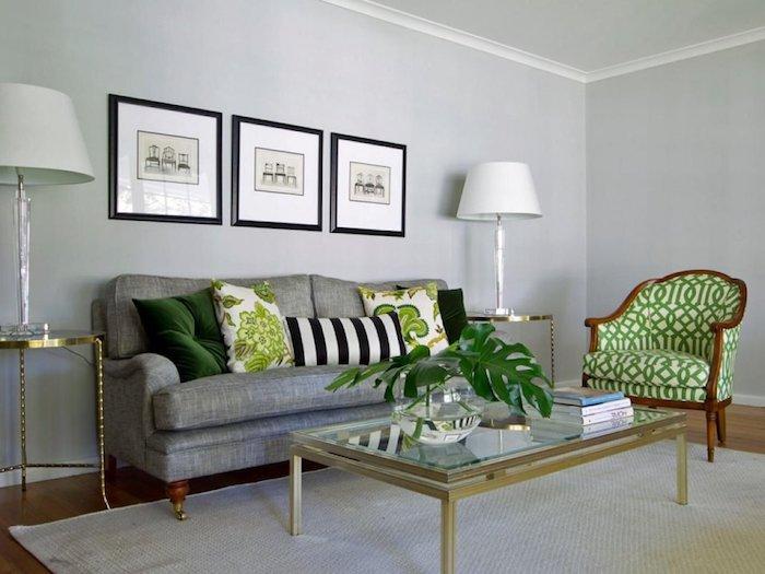 was passt zu grau, grau und grün gestaltung des zimmers, wohnzimmer stilvoll gestalten ideen