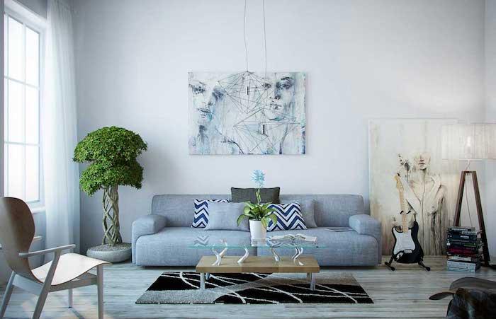 was passt zu grau, wohnraum modern einrichten, grüner baum, künstliche blumen, dekorationen, gitarre