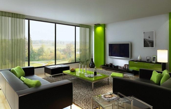 was passt zu grau, grün, schwarz, weiß, grau und viel natürliches licht, große fenster, fernseher