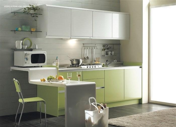 was passt zu grau, hier ist eine idee für stilvolle küche im design grau und hellgrün, mikrowelle, stuhl, barplott