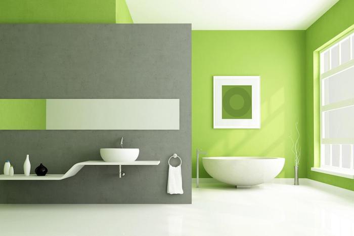 welche farben passen zusammen wohnen mit stil, badezimmer, weiß grün und grau, badewannde, waschbecken