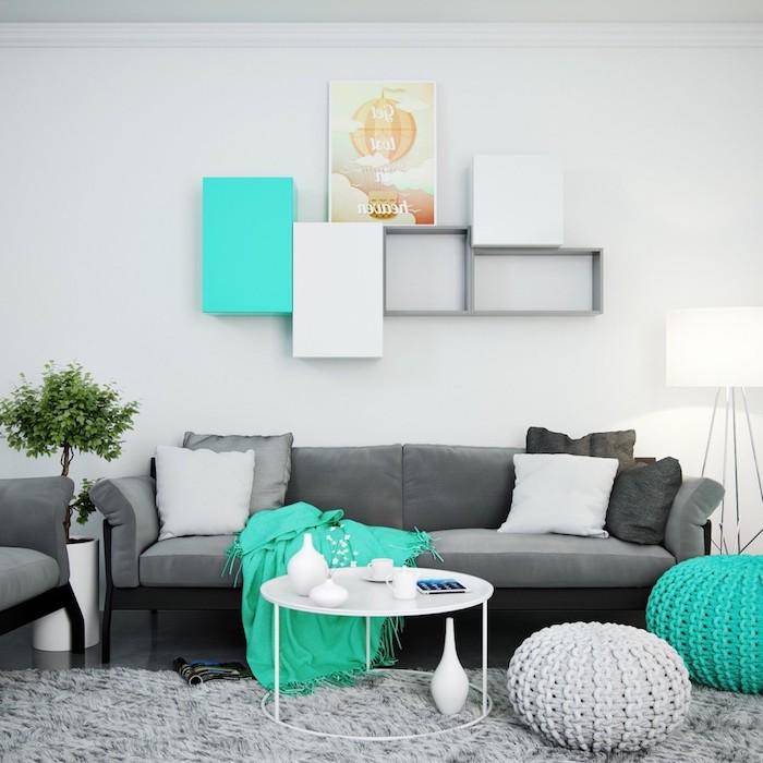 welche farbe passt zu blau, wohnraum in grau und blauen nuancen gestalten, bodenkissen selber machen, blaue decke, wanddeko idee