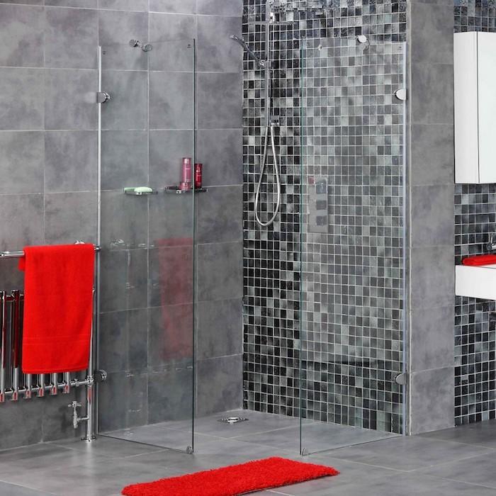farbkombinationen im bad, badezimmer mit stil gestalten, grau und rot, ideen