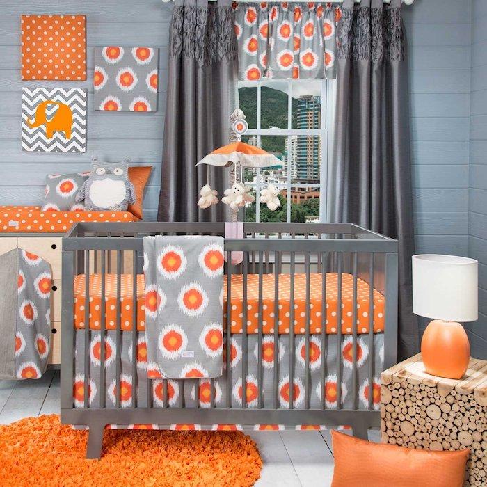 farbkombinationen im kinderzimmer ideen zum frischen flair, orange und grau und weiß, gestaltung