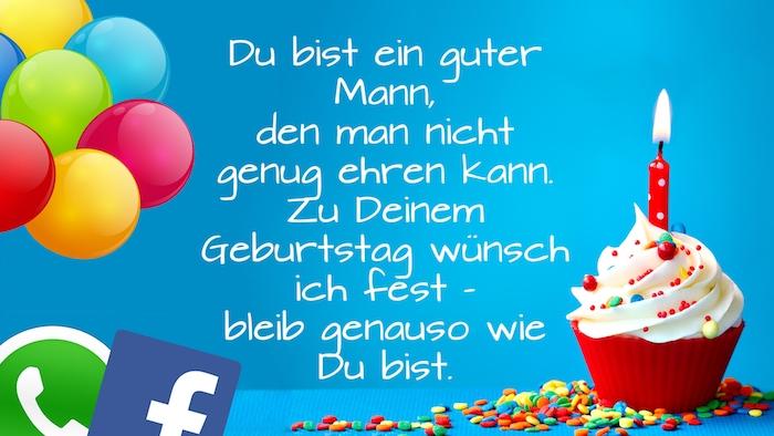 lustiges bild mit einer kleinen roten muffin mit einer roten kerze und mit sahne, logos von whatsapp und facebook, viele bunte ballons