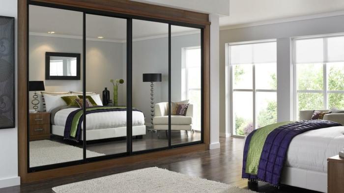 spiegel im schlafzimmer, großes spiegelschrank, bettdesign, gestaltungsideen, zimmerdesign