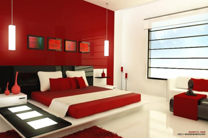spiegel im schlafzimmer, rot weiß und schwarz schlafzimmer ideen, rote wand, schlafzimmer wanddeko bilder, lampen