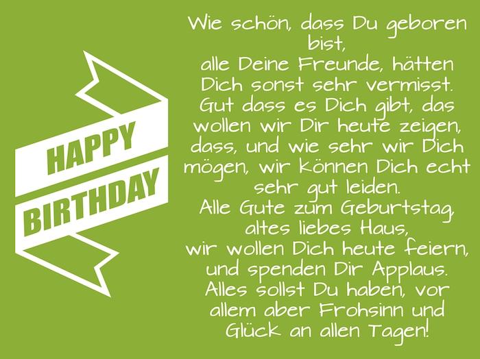 ein grünes bild mit einem lustigen langen geburtstagswunsch für einen mann und mit einer weißen langen großen happy birthday schleife