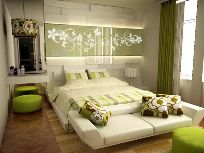 welche farbe fürs schlafzimmer, weiße möbel, grüne deko ideen wand hinter dem bett