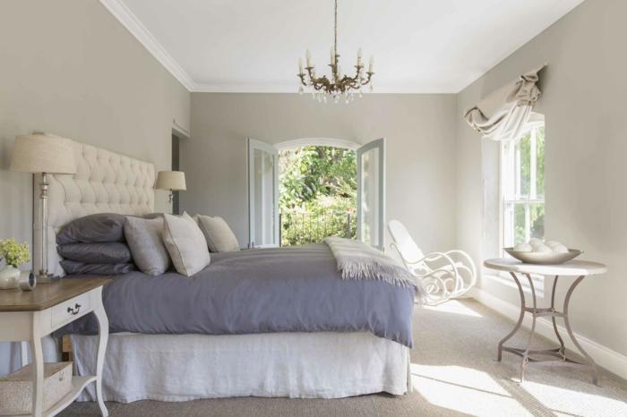 graues zimmerdesign, raumgestaltung, schöne idee, welche farbe fürs schlafzimmer, weiß, grau