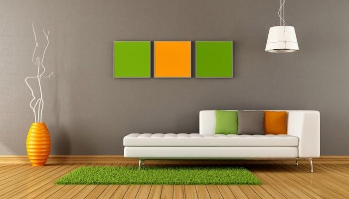 graues wohnzimmer mit orangen oder gelben und grünen dekorationen gestalten, idee, vase, wanddeko, lampe