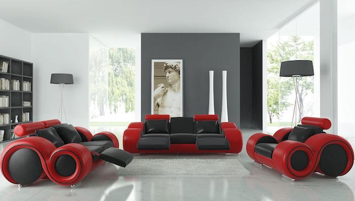 welche farbe passt zu rot, dunkelgraues möbeldesign mit roten elementen, idee deko