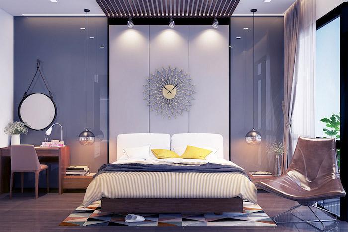 wandgestaltung mit farbe, ein wunderschönes wohndesign, wanduhr, schreibtisch, dezente lila, rosa und graue nuancen