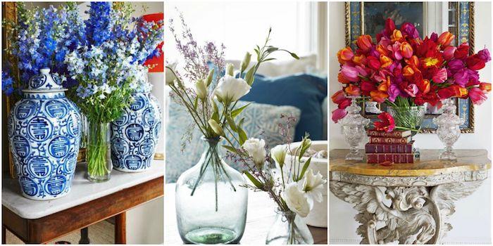 schlafzimmer deko ideen, die perfekte dekoration in jedem raum sind die frischen blumen, blaue, weiße und rote blumen in vase, collage aus drei blumenbilder