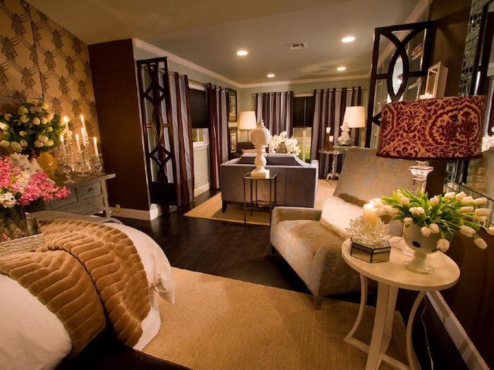 schlafzimmer deko ideen, große räume selber schmücken und einrichten, blumen, kerzen. romantik