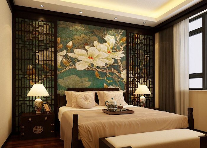 schlafzimmer deko ideen vom orient, arabischer stil, japanischer stil, wanddeko blumen, jasmin, lampen, teekanne