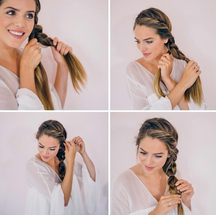 zopf flechten, braune haare mit blonden strähnen, blaue augen, frisur im hippie stil