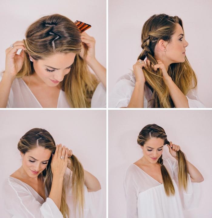 zopf flechten, hippie frisur selber machen, seitlicher zopf, braune haare mit blonden strähnen, anleitung