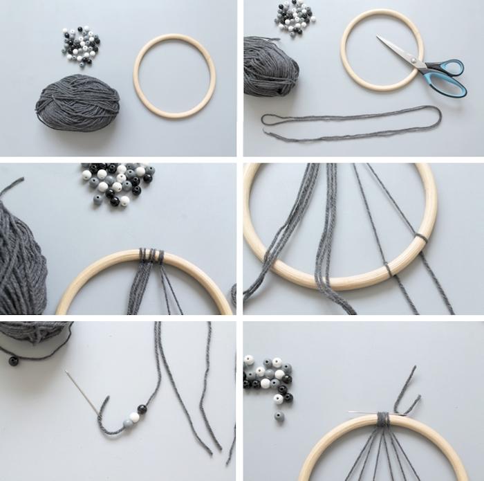 traumfänger bastelset, grauer garn, ring aus holz, schere, graue weiße und schwarze perlen einfädeln
