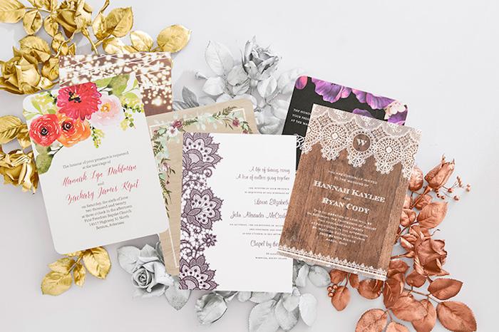 hochzeitseinladungen selber machen, einladungskarten in verschiedenen designs, hochzeit ideen