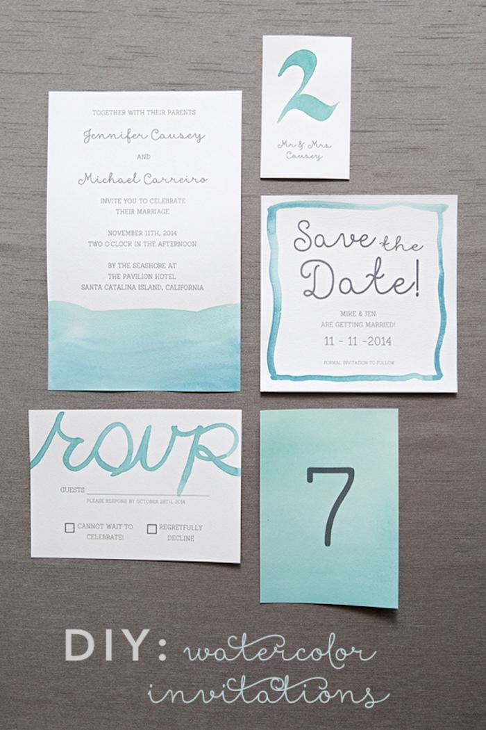 hochzeitskarten selbst basteln, diy ideen für hochzeit, hochzeitseinladung mit wasserfarbe dekorieren