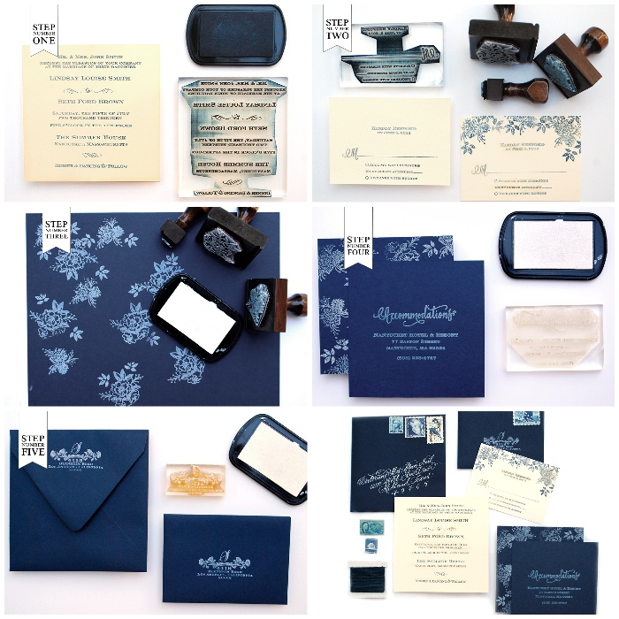 hochzeitseinladungen selber machen, weiße stempelfarbe, einladungen für die hochzeit basteln, dunkelblaues papier