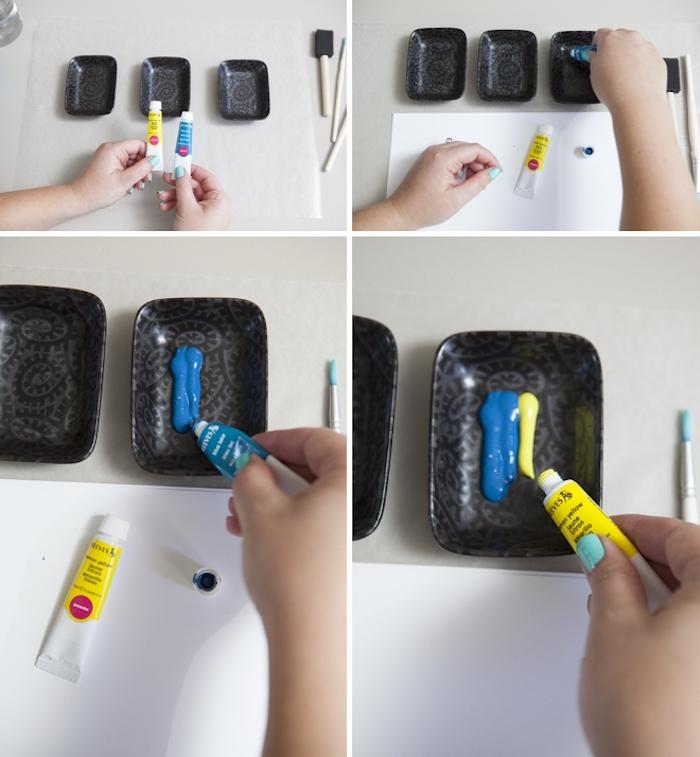 hochzeitskarten selbst basteln, gelbe und blaue wasserfarbe mischen, kleine schwarze schalen
