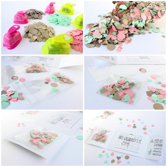 hochzeitseinladungen selber machen, konfetti aus papier ausschneiden, basteln mit papier