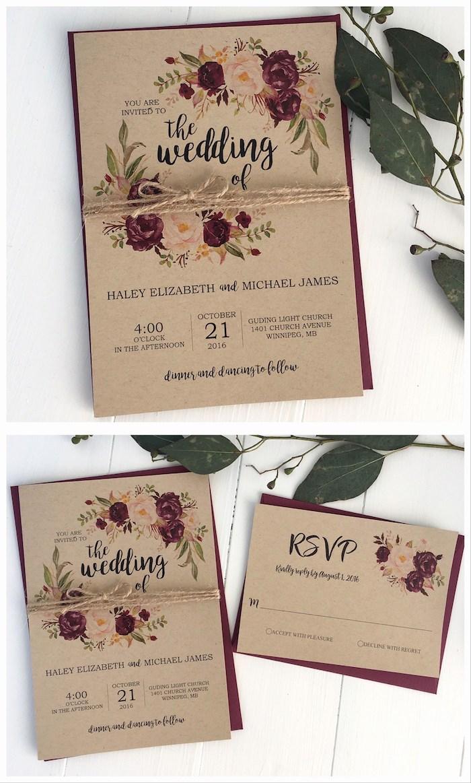 einladungskarten hochzeit vintage, brauenes papier, hochzeitseinladungen im retro stil, rosen